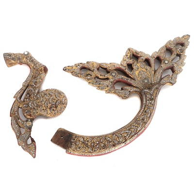 Burmese Giltwood and Glass Architectural Fragment