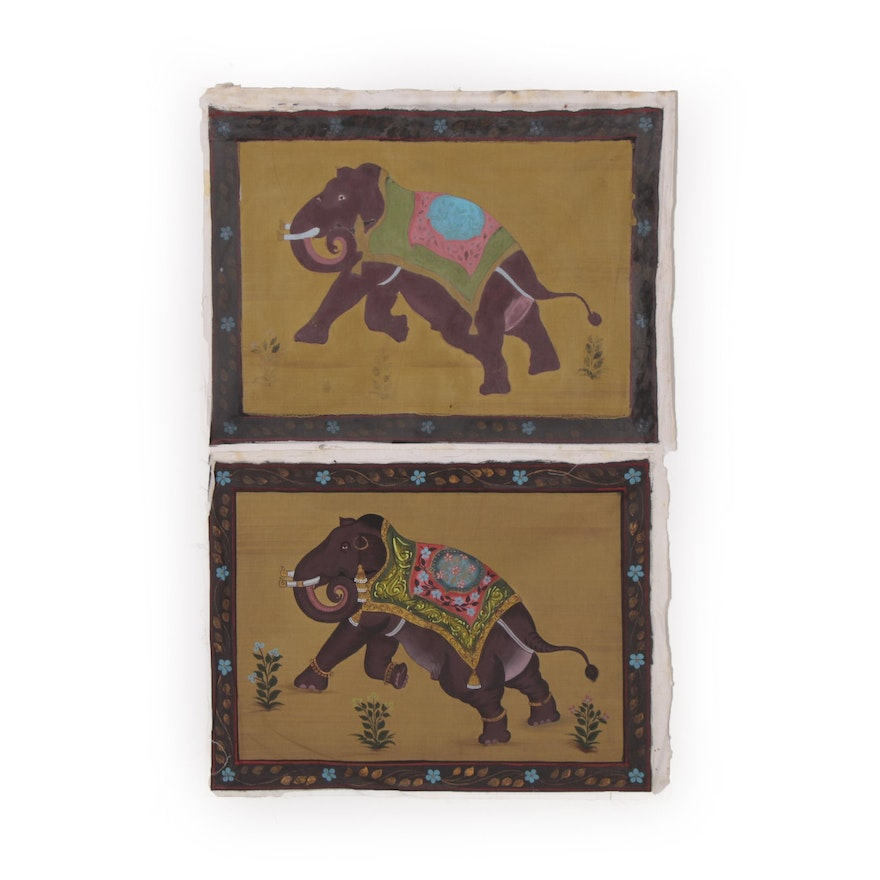 Indian Mughal Style Gouache Elephant Paintings, 20th Century