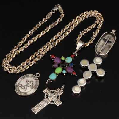Sterling Religious Jewelry with Saint Christopher Pendant and Cross Necklace