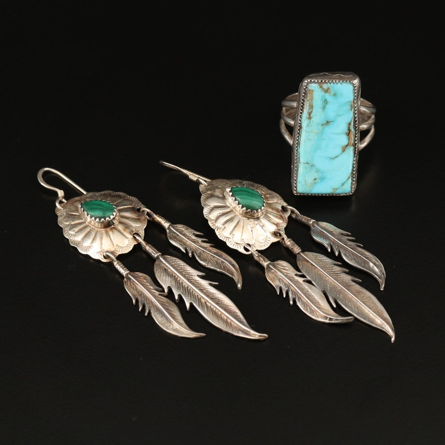 Southwestern Style Sterling Silver Malachite Earrings and Turquoise Ring