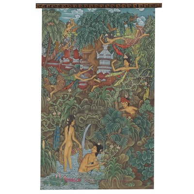 "Balinese Folk Style Painted Wall Hanging from ""Hotel Bali Beach"""