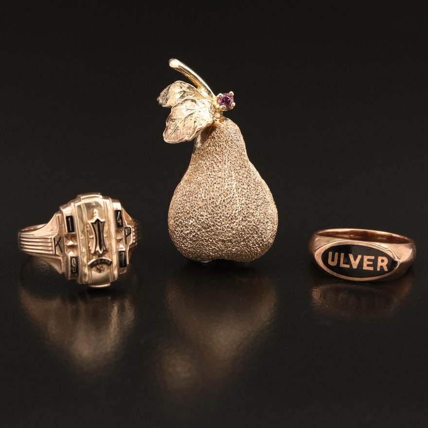Les Bernard Sterling Silver Sapphire Pear Brooch with Vintage 10K Enamel Rings