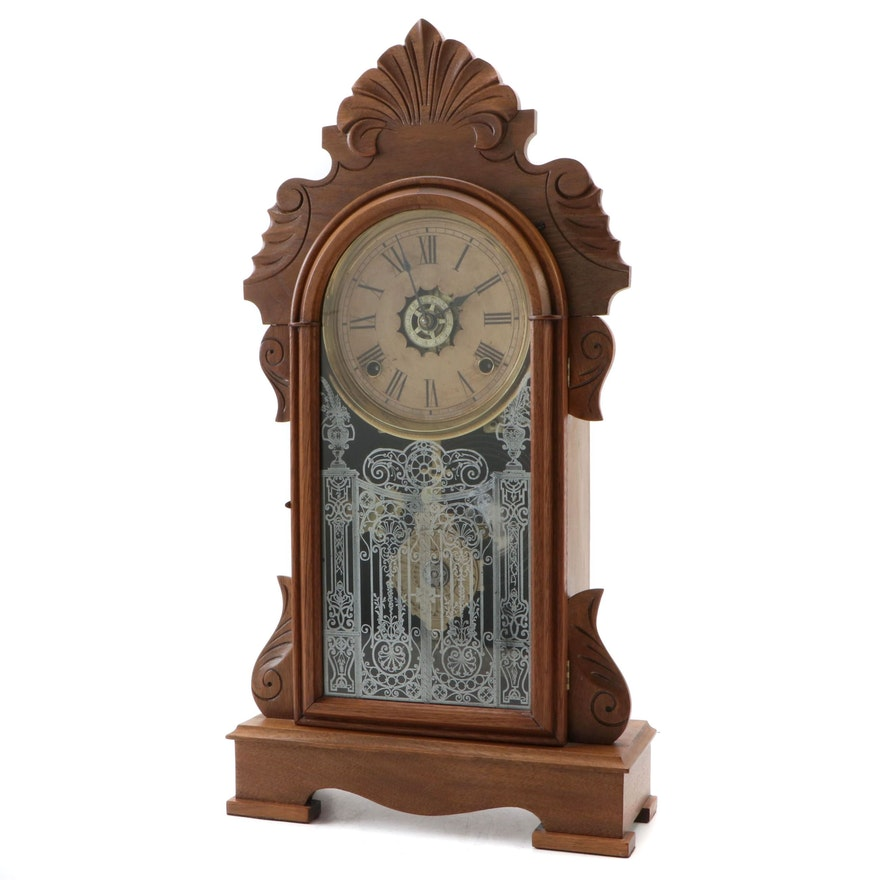 Ansonia Clock Co. Victorian Hand-Carved Oak Mantel Clock