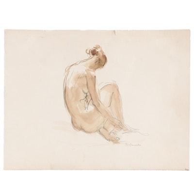 Paul Belmondo Nude Watercolor Sketch, Mid 20th Century