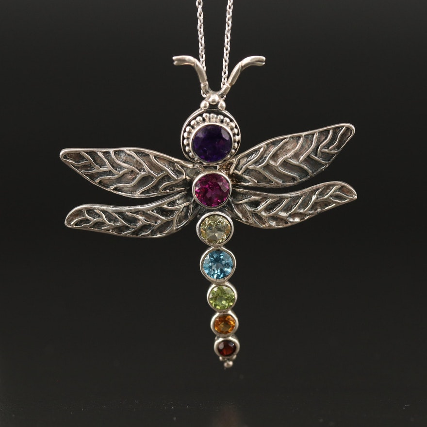 Sterling Silver Amethyst, Peridot and Topaz Dragonfly Necklace