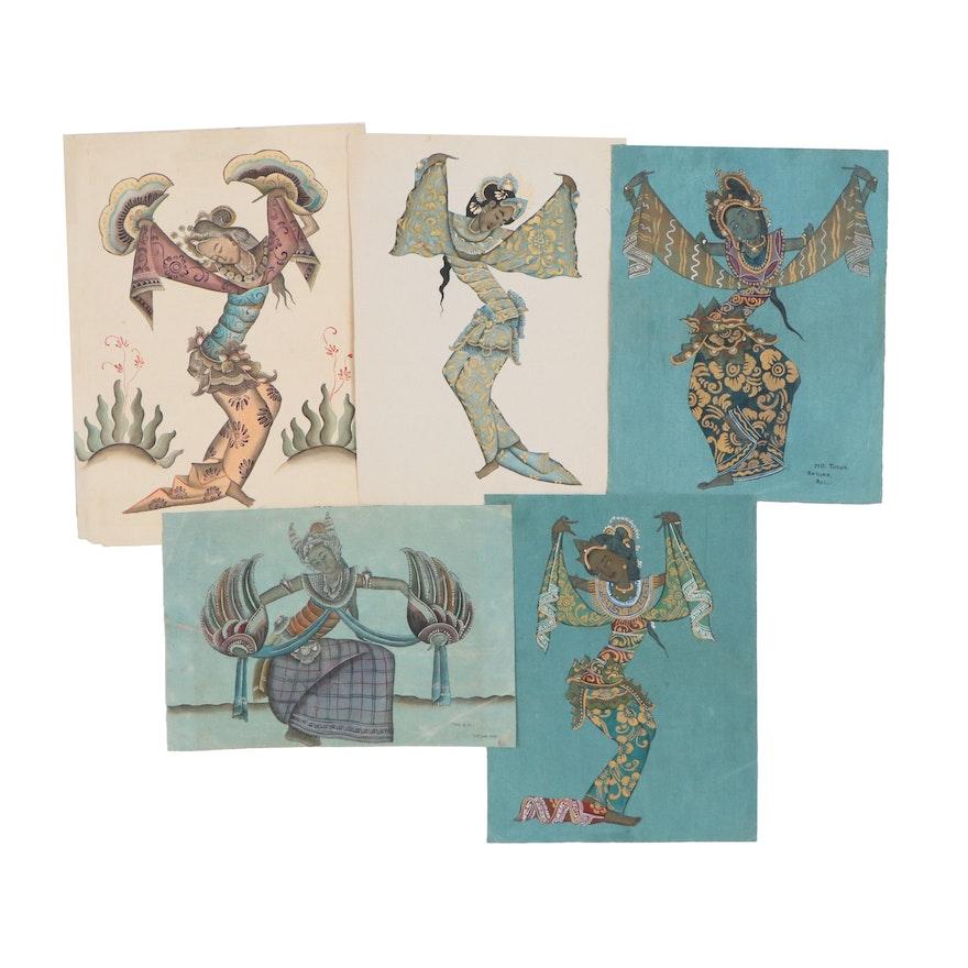 Balinese Dancers Tempera Paintings, 20th Century