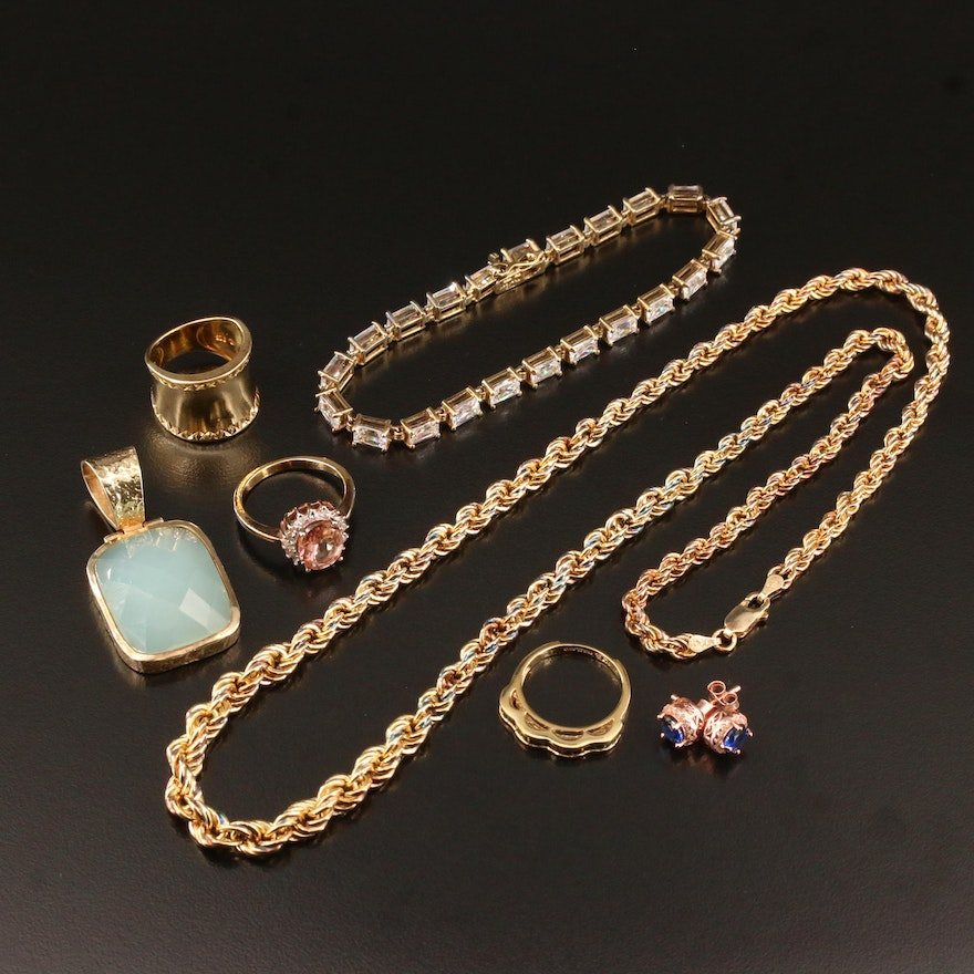 Sterling Silver Jewelry Featuring Scalloped Edged Band and Gemstone Accents
