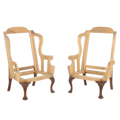 Pair of William Brian Pierce Wingback Armchair Frames with Mahogany Legs