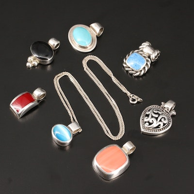 Selection of Sterling Featuring Multi-Gemstone Pendants and Necklace