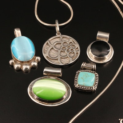 Assortment of Sterling Silver Pendants and Snake Chain Necklace
