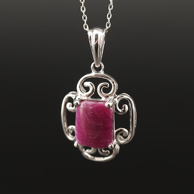 Sterling Silver Corundum Pendant Necklace Featuring Scroll Patterned Edges