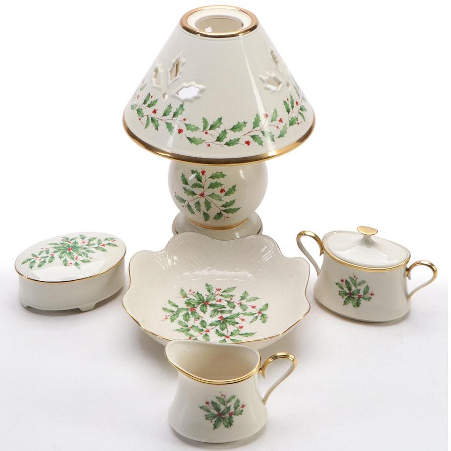 """Lenox """"Holiday"""" Bone China Candle Lamp, Creamer, Sugar, Dish, and Trinket Box"""
