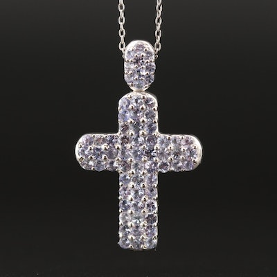 Sterling Silver Tanzanite Cross Pendant Necklace