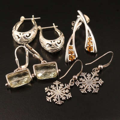 Sterling Silver Earrings Featuring Snowflakes and Citrine Accents