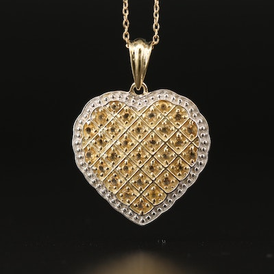 Sterling Citrine Heart Pendant Necklace
