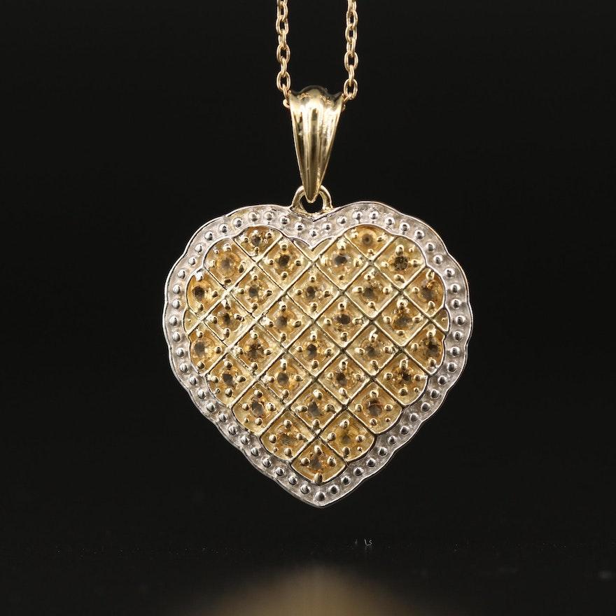 Sterling Citrine Heart Pendant Necklace