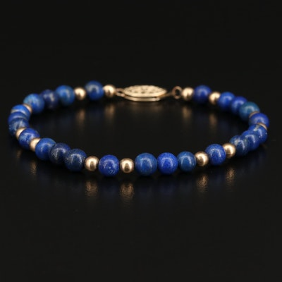 Lapis Lazuli Beaded Bracelet with Gold Filled Clasp
