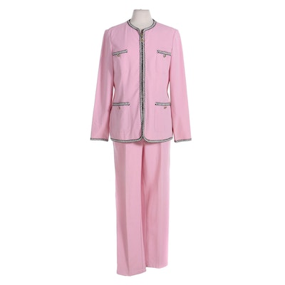 St. John Sport Pantsuit in Pink with Contrast Trim