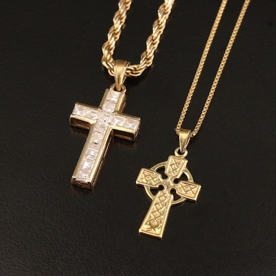 Sterling Silver Cross Pendant Necklaces Including Cubic Zirconia Accents