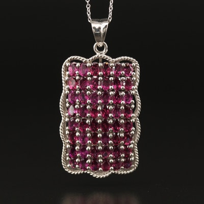 Sterling Silver Garnet Rectangular Necklace