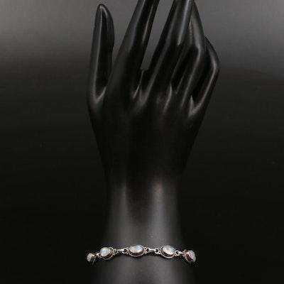 Sterling Silver Rainbow Moonstone Link Bracelet