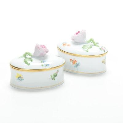 Pair of Herend Rose Motif Porcelain Trinket Boxes