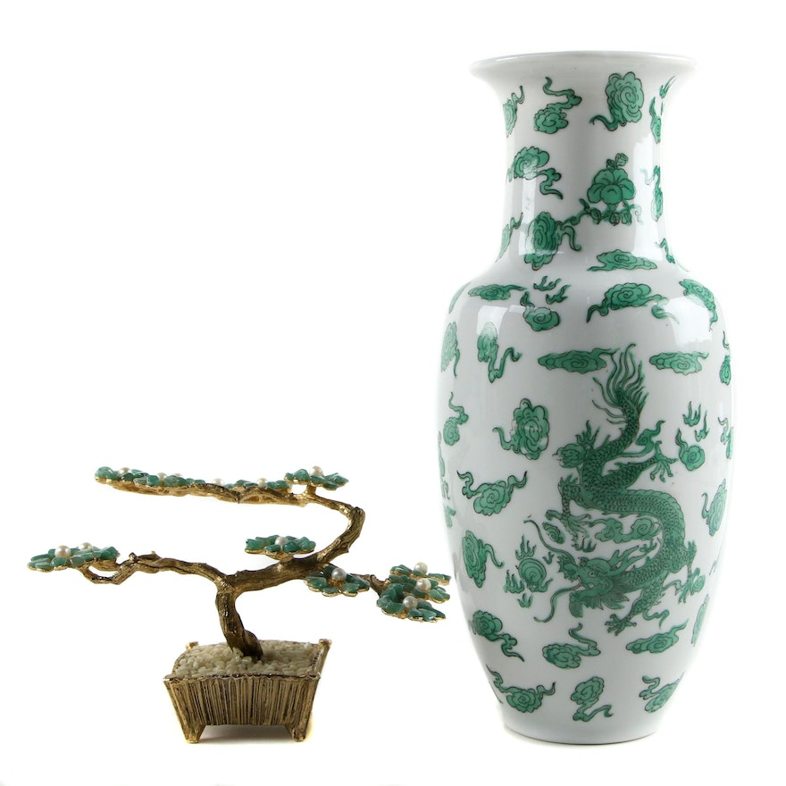 Aventurine and Cultured Pearl Bonsai Sculpture with Porcelain Dragon Vase