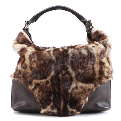 Gucci Signoria Hobo in Leopard Print Fur with Brown Leather Trim