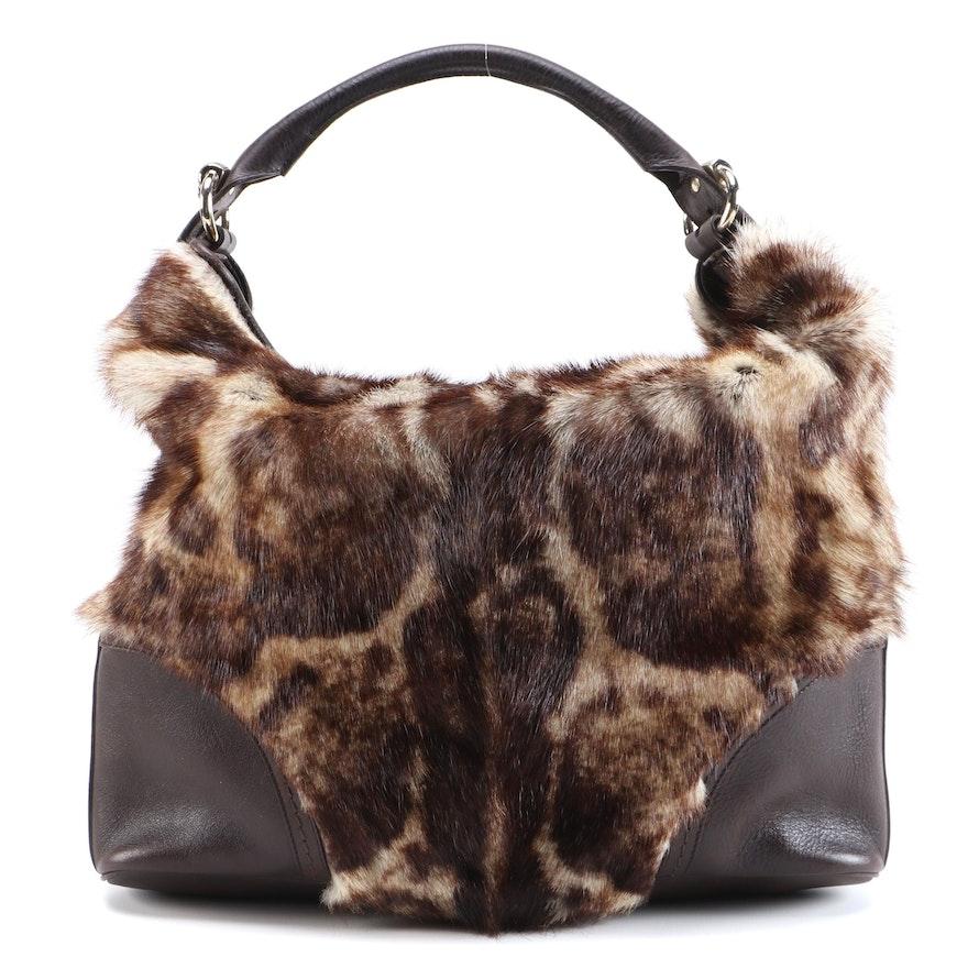 Gucci Signoria Hobo in Leopard Print Fur with Brown Leather Trim