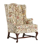 Hickory Chair Co. Queen Anne Style Crewelwork Wingback Armchair, 20th Century