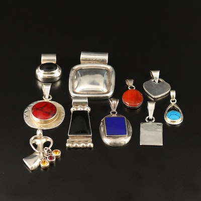 Sterling Silver Pendants Featuring Cubic Zirconia and Glass Accents