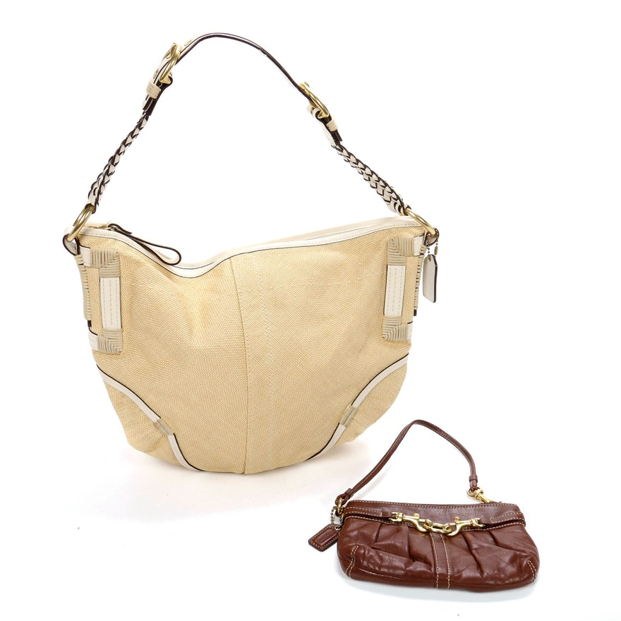 Coach Hobo Shoulder Bag in Straw and Leather with Leather Wristlet