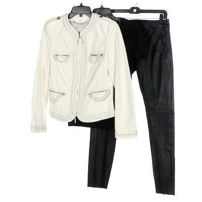 Escada Contrasting Leather Jacket and Pants with T-Shirt