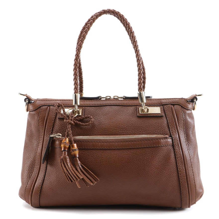 Gucci Bella Convertible Top Handle Bag in Leather with Burnished Bamboo Tassels