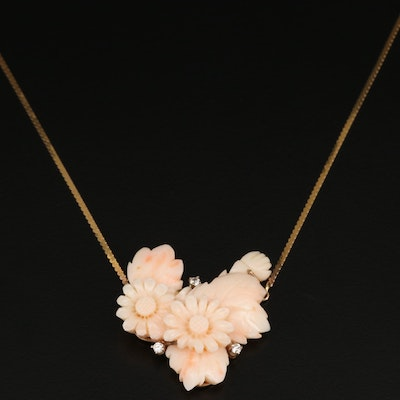 14K Carved Coral and Diamond Pendant Necklace