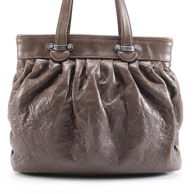 Chanel Tote Bag in Brown Pleated and Diamond Stitched Lambskin