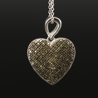 Sterling Silver Pavé Diamond Heart Pendant Necklace