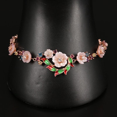 Sterling Mother of Pearl, Rhodolite Garnet and Amethyst Floral Bracelet