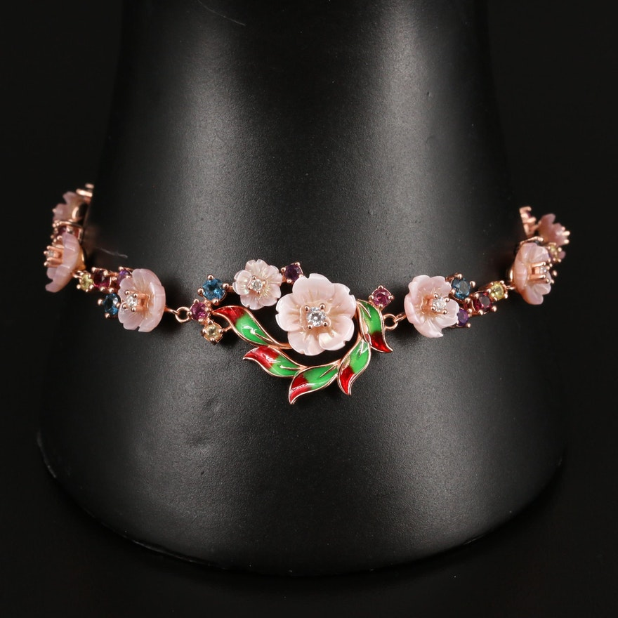 Sterling Mother of Pearl, Rhodolite Garnet and Amethyst Floral Bracelet
