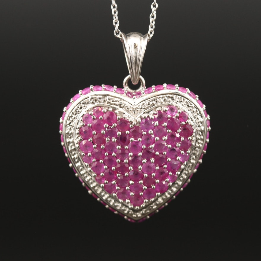 Sterling Silver Pavé Ruby Heart Pendant Necklace