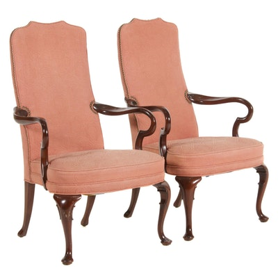 Pair of Hickory Chair Co. Queen Anne Style Upholstered Armchairs, 20th Century
