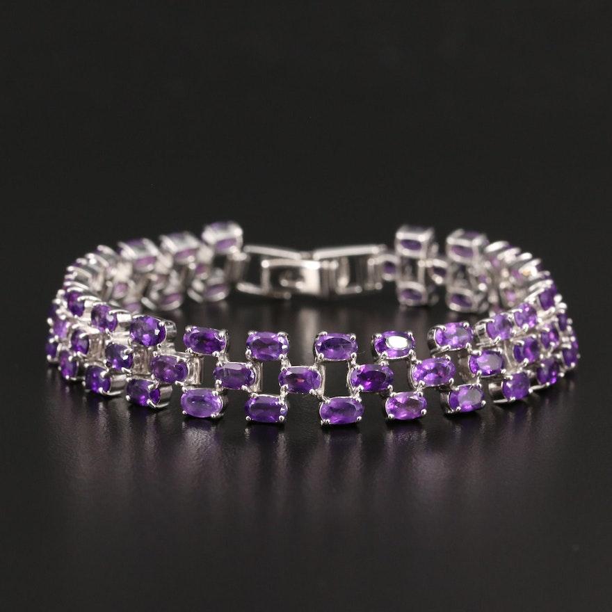 Sterling Amethyst Checkerboard Bracelet
