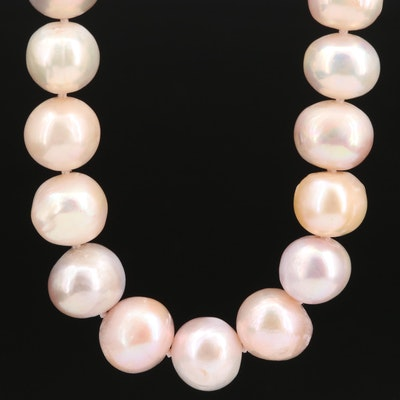 Hand Knotted Pearl Strand Necklace