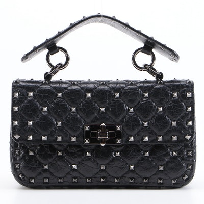 Valentino Rockstud Small Spike Two-Way Flap Bag in Black Quilted Leather