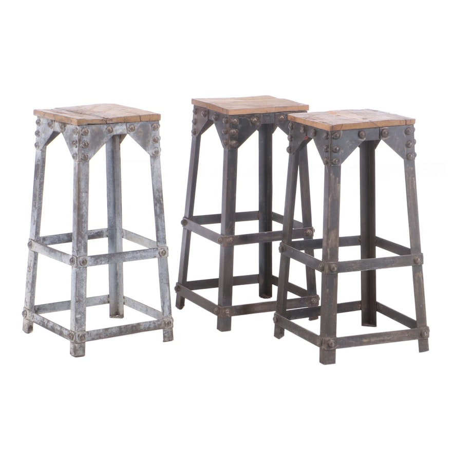 Three Industrial Steel and Reclaimed Oak Bar Stools