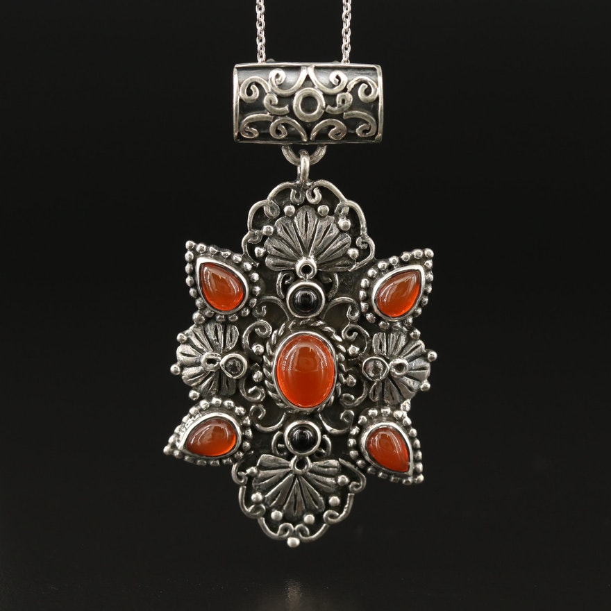 Sterling Silver Carnelian, Black Onyx and Topaz Scrollwork Pendant Necklace
