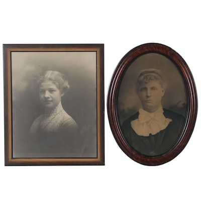 Silver Gelatin Photograph and Crayon Portrait, Late 19th Century