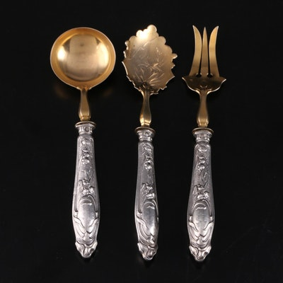 Joseph Crossard of Paris Sterling Silver Serving Utensils, Early 20th Century