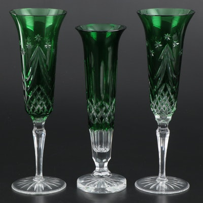 """Waterford Crystal """"Merry Christmas"""" Emerald Champagne Flutes and """"Lismore"""" Vase"""