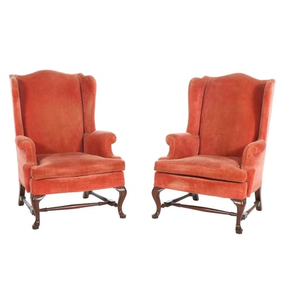 Pair of Hickory Chair Co. Queen Anne Style Velvet Wingback Armchairs